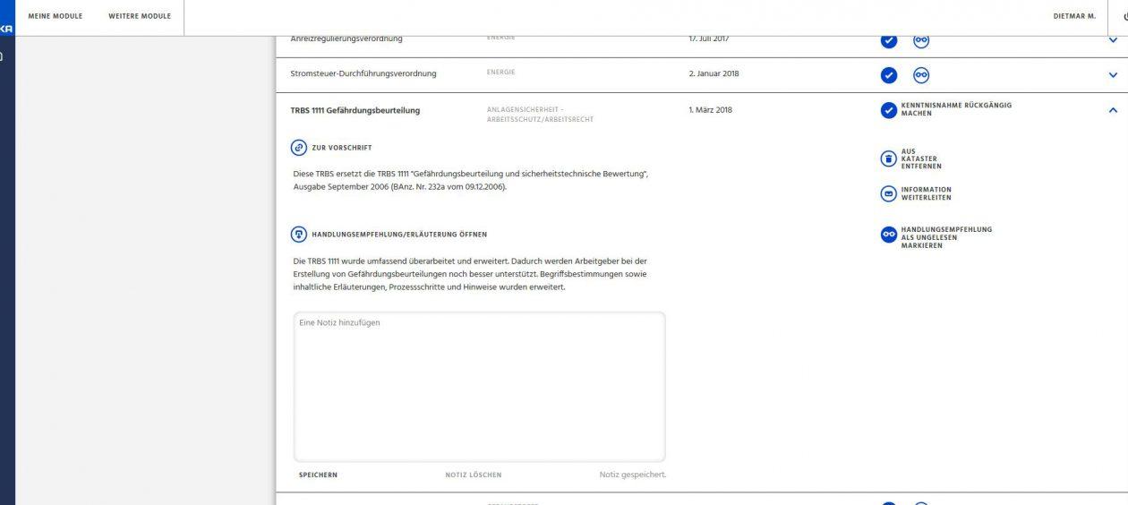 Weka vorschriftendienst screen